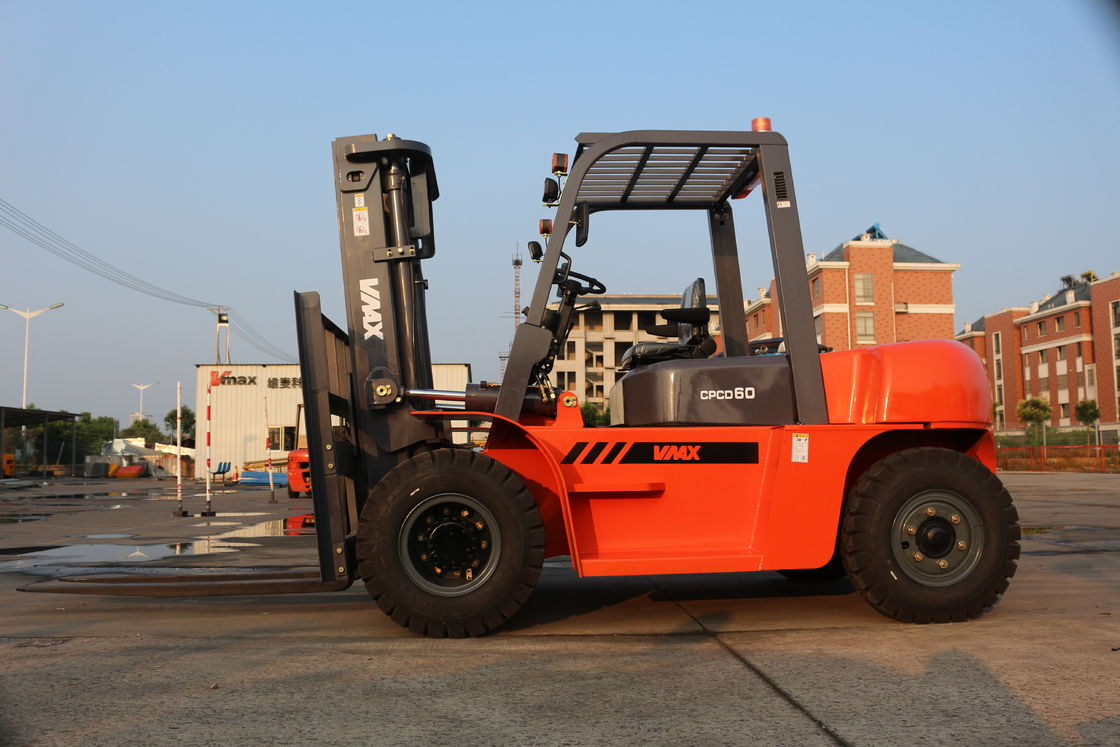 CPCD60 Diesel Powered Four Wheel Drive Forklift Max Lift Height 6000mm Automatic Transmission